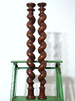 "Spiral Turned Barley Twist Column 25"" Pair Antique French Wood Post Pillar Trim"