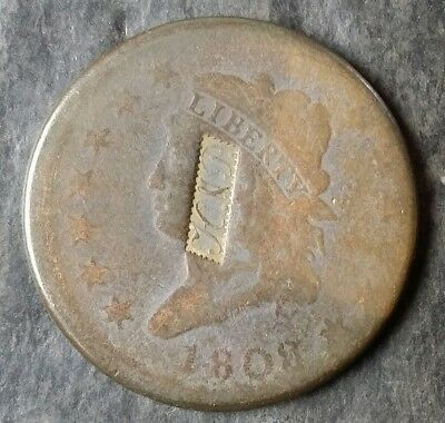 1808 1c Classic Head Large Cent Counterstamped 'H&P'