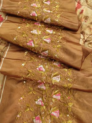 """Antique 19C Victorian Hand Embroidered Silk Ribbon 9""""x31"""" floral roses Edwardian"""