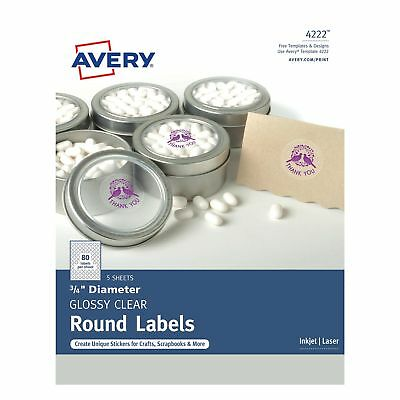 Avery Clear Glossy Print-to-the-Edge Round Labels (ave-4222) (ave4222)