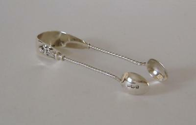 Ornately Embossed Antique Sterling Silver Small Sugar Tongs Sheffield 1908