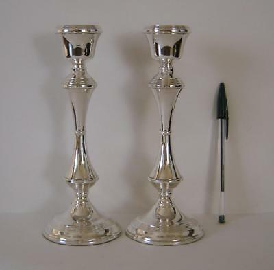 A Pair Of Fine Quality Sterling Silver Large Candlesticks Birmingham 1974