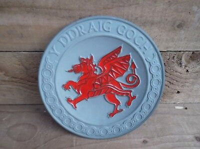 Vintage Welsh Pottery Plate Y Ddraig Goch ( The Red Dragon )