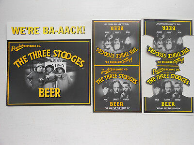 3 diff.THREE STOOGES BEER TABLE TENT/ADS-PANTHER BREWING-MOE,LARRY,CURLY