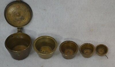 scale weights brass set  original box G. Rammes grams antique original 1800s
