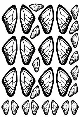 "Butterfly Wings  5"" X 3.5"" Card Black Fused Glass Decals 17CC896"