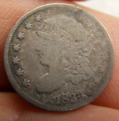 Antique 1834 U. S. Capped Bust Half Dime 5¢ Silver Coin