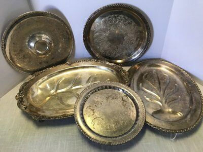Rare - Silverplate Lot 5 Serving Trays Dishes W M Rogers Sheridan Floral Ornate