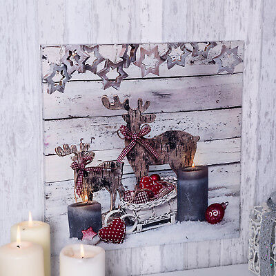 Christmas reindeer light up canvas xmas scene wall decoration LED candles winter