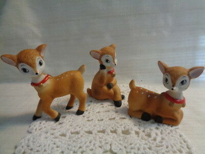 Vintage Reindeer Figurines Home Interior Homco Bisque Porcelain Spotted Deer