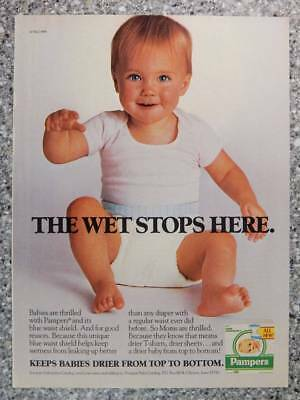 1986 Pampers Diapers - Vintage Magazine Ad Page - Happy Baby in Diaper