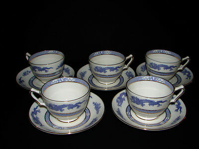 5 PURPLE DRAGONS by CROWN STAFFORDSHIRE BONE CHINA Tea CUPS & SAUCERS 1930s