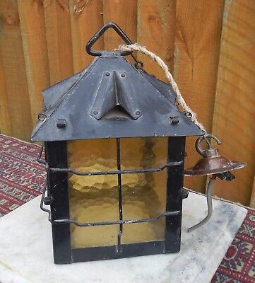 Vintage Reclaimed Tradional Amber Glass Wrought Iron Porch Lantern Light