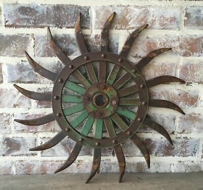 JD Rotary Metal Spike Cultivator Hoe Wheel Sunflower Vintage Antique Industrial