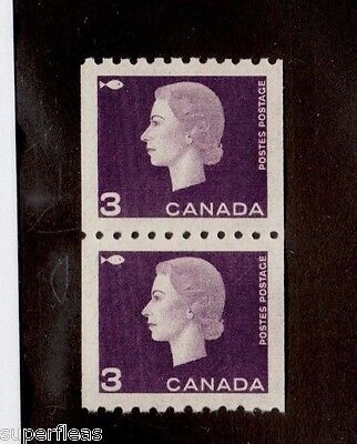 Canada 1962 407 ** MNH VF pair of coil stamps. Cameo QEII 3 cent purple.