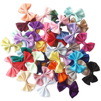 10pcs Satin Ribbon Bows Applique Craft Embellishments Wedding Scrapbooking Card