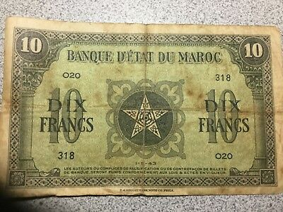 MOROCCO 1942 10 Fanc banknote circulated