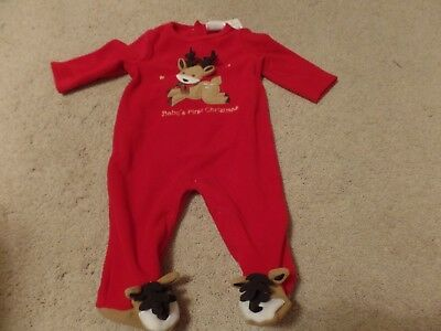Baby's First Christmas Sleeper , Red with Reindeer, Size:6 Months, New with Tags