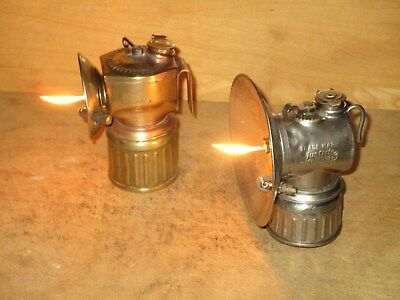 2 Miners JUSTRITE CARBIDE LAMPS - WORKING!