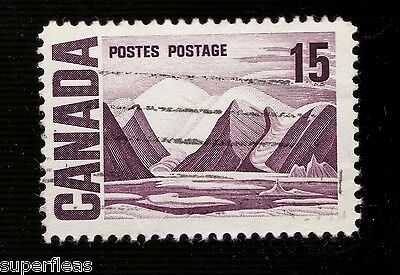 """SUPERFLEAS Canada Rare used 1967 - 15 Cent with Doubled 15 """"Plastic flow"""" 463vi"""