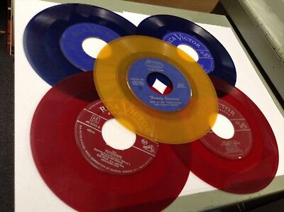 "Lot Of 5 Colored Vinyl 7"" 45Rpm Blue,yellow,red Records For Decorating & Crafts"