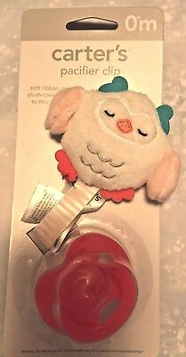 New Carter's OWL Plush PACIFIER Binkie CLIP Baby Girl FREE SHIPPING Ages 0+ NWT