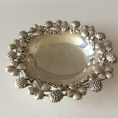 "A Frankfield &Co .Antique Sterling Silver Ornate Dish  5 1/2 "" Four Leaf Clover"