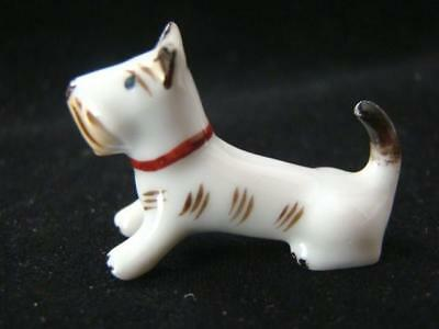 Adorable Teeny Tiny Miniature Hand Painted Porcelain Terrier Dog, Germany