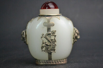 Collectible Old Jade Carve Tibetan silver inlaid lion dragon Totem Snuff Bottle