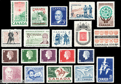 CANADA 1961 1962 1963 postage stamps. 20 stamps. Mint never hinged 391-415