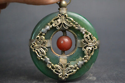 Vintage Old inlaid butterfly Tibetan silver Carve Noble Green Jade Nice Pendant