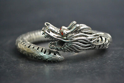 Vintage Collectible Old Tibet Silver carve dragon Theme Beautiful Bracelet good