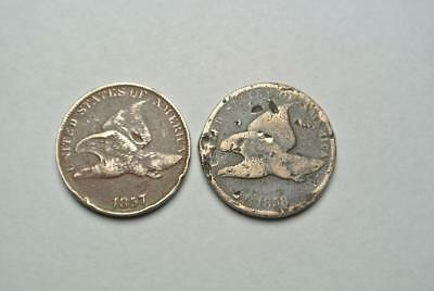 1857 & 1858 Flying Eagle Cents, Poor & AG Conditions - C4697