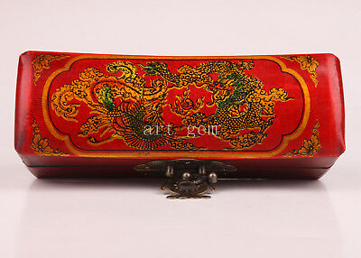 Red Leather Dragon Phoenix Decorated Jewelry Box Collectable