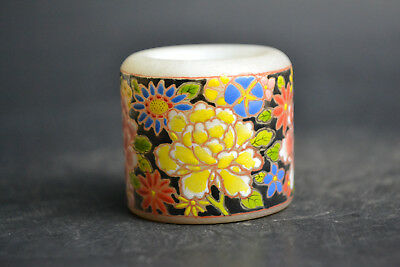 Collectible China Old peking glass painting flower big Ring knuckle-cracking