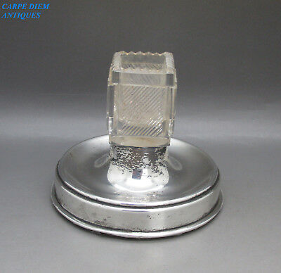 Antique Unusual Solid Sterling Silver & Cut Glass Match Strike Holder, Lon 1919