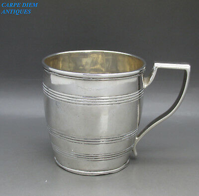 ANTIQUE GOOD GEORGIAN SOLID STERLING SILVER CHRISTENING CUP, JE 103g LONDON 1800