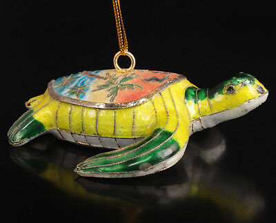 Cloisonne Statue Pendant Animal Tortoise Old Handmaking Collection Value