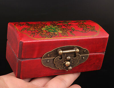 Red Leather Jewelry Box Flower Bird Gift Wedding Products Collection Value