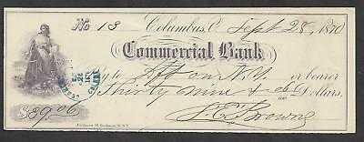 1870 Columbus Ohio Bank Check