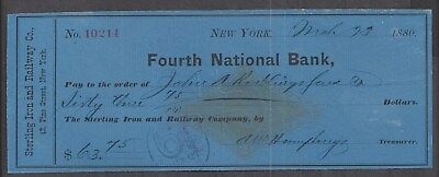 1880 New York Railroad Bank Check RN-G1