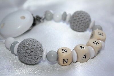 Personalised Wooden Dummy Clip/ Chain Grey Crochet - Baby Shower Gift