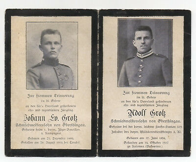 WWI German Death Card 2 Soldiers Brothers died at Conthil /Bukowina WW1