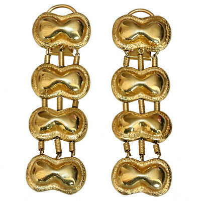 Vintage Made In Cyprus Hand Made 18 Carats Gold Long Earrings , Circa 1950 Ad