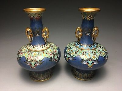 Pair Of Chinese Cloisonne Brass Vases Birds