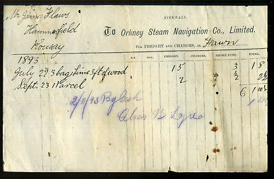 1893 ORKNEY STEAM NAVIGATION CO Invoice FLAWS Hammerfield LOGIE Rousay SS FAWN