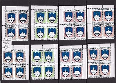 Slovenia 1991 Arms set (with date on stamp) in blocks of 4 MNH