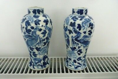 ANTIQUE 19TH C PAIR of CHINESE BLUE & WHITE VASES 4 CHARACTER MARKS EXOTIC BIRDS