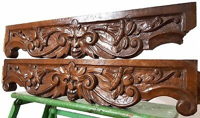 Hand Carved Wood Green Man Pediment Pair Antique French Architectural Salvage