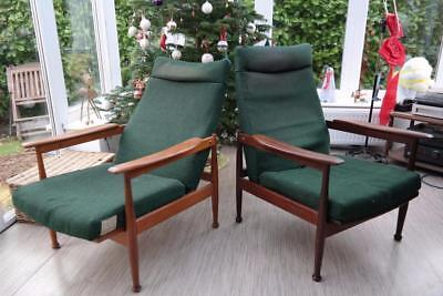Vintage Guy Rogers 'MANHATTAN' Armchairs Recliners Afrormosia & Teak 1960's Chic